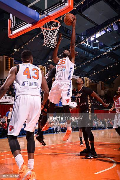 DaJuan Summers of the Westchester Knicks shoots against the Erie Bayhawks at the Westchester County Center on November 14 2015 in Westchester New...