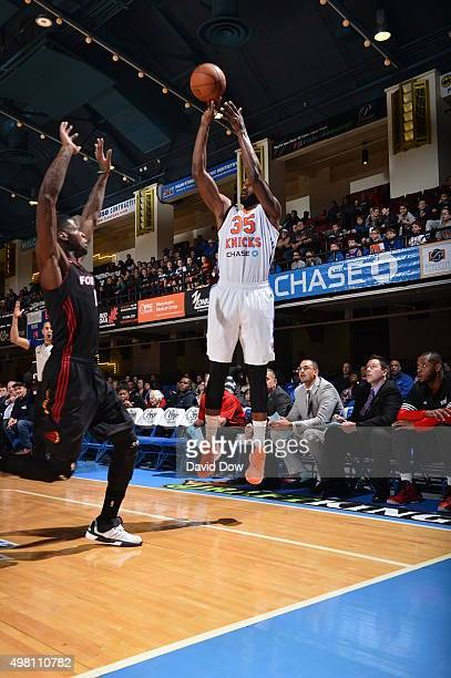 Dajuan Summers of the Westchester Knicks shoots against the Sioux Falls Skyforce on November 20 2015 at the Westchester County Center in White Plains...