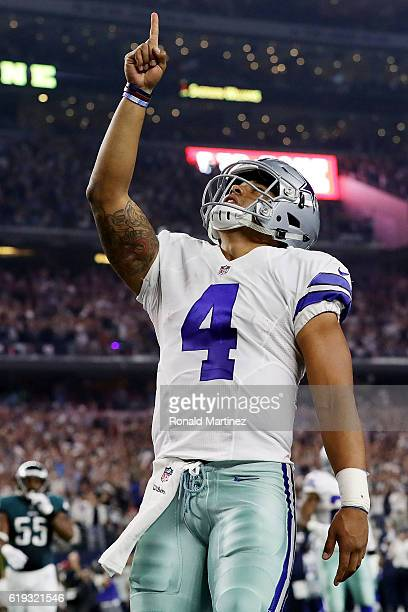 Dak Prescott of the Dallas Cowboys celebrates after scoring in the first quarter during a game between the Dallas Cowboys and the Philadelphia Eagles...