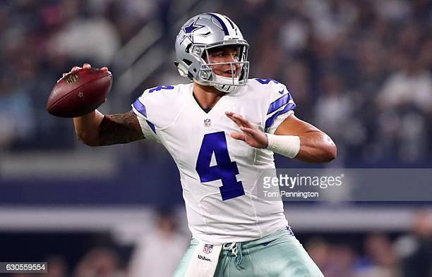 Dak Prescott of the Dallas Cowboys throws against the Detroit Lions during the first half at ATT Stadium on December 26 2016 in Arlington Texas