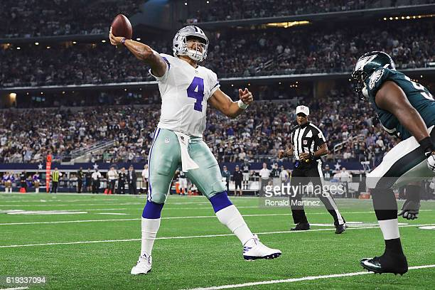 Dak Prescott of the Dallas Cowboys throws during a game between the Dallas Cowboys and the Philadelphia Eagles at ATT Stadium on October 30 2016 in...