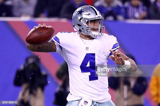 Dak Prescott of the Dallas Cowboys throws the ball against the New York Giants during the first quarter of the game at MetLife Stadium on December 11...