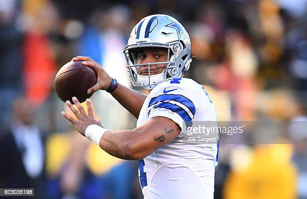 Dak Prescott of the Dallas Cowboys warms up before the game against the Pittsburgh Steelers at Heinz Field on November 13 2016 in Pittsburgh...