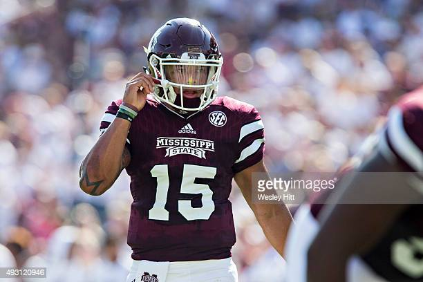 Dak Prescott of the Mississippi State Bulldogs at the line of scrimmage during a game against the Northwestern State Demons at Davis Wade Stadium on...