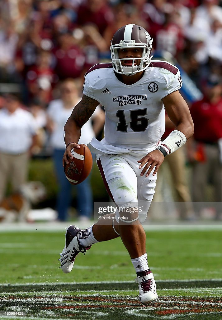 <a gi-track='captionPersonalityLinkClicked' href=/galleries/search?phrase=Dak+Prescott&family=editorial&specificpeople=9838842 ng-click='$event.stopPropagation()'>Dak Prescott</a> #15 of the Mississippi State Bulldogs during their game at Williams-Brice Stadium on November 2, 2013 in Columbia, South Carolina.