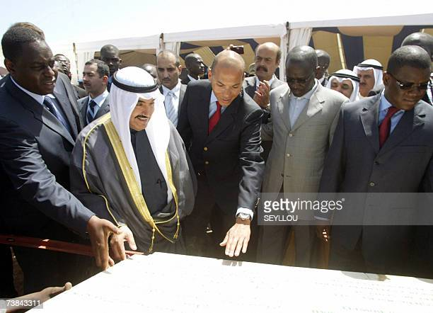 Kuwait's Prime Minister Sheikh Nasser Mohammed alAhmed alSabah attends 09 April 2007 the foundation stone laying ceremony for the construction of an...