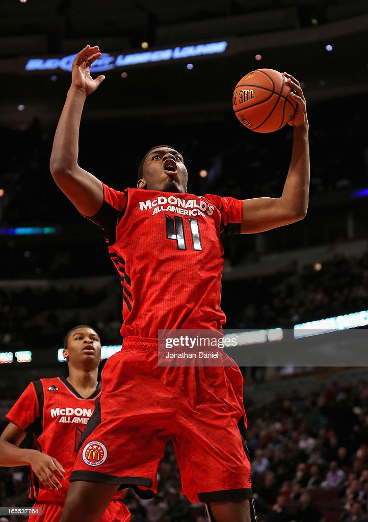Dakari Jackson #41 of the East grabs a rebound during the 2013 McDonald's All American game at United Center on April 3, 2013 in Chicago, Illinois. The West defeated the East 110-99.