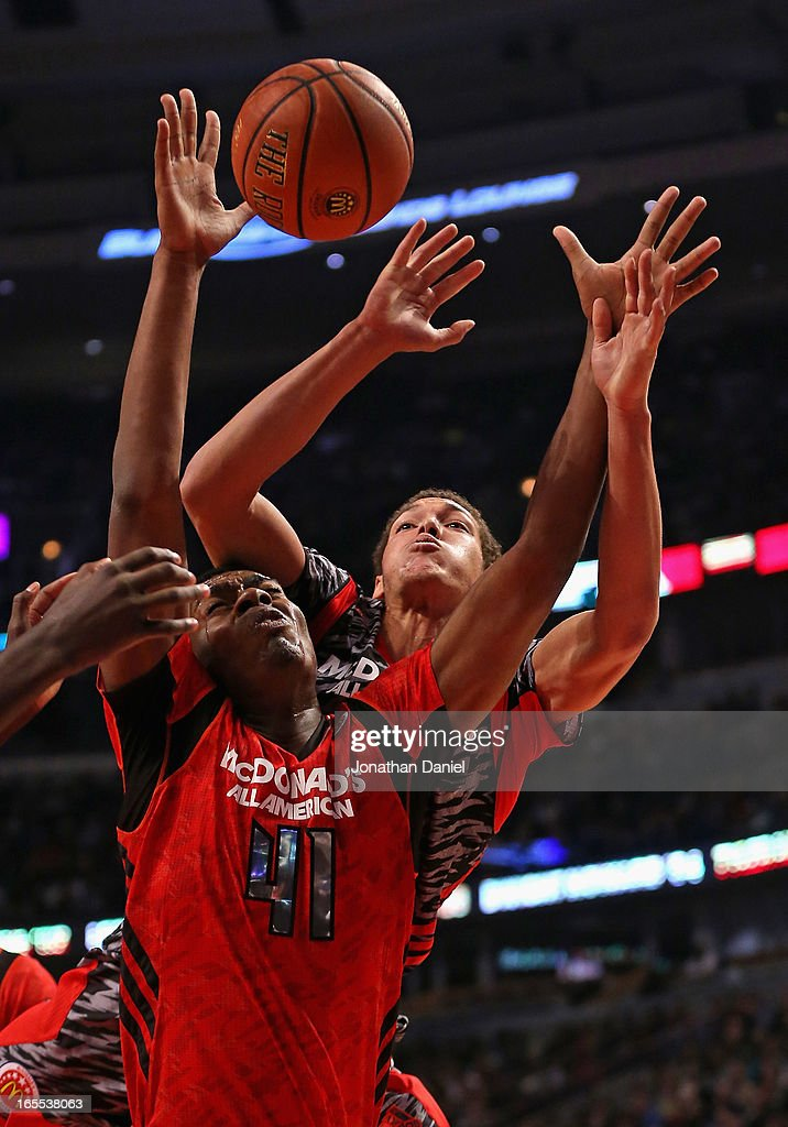 Dakari Johnson #41 of the East and Aaron Gordon #32 of the West battle for a rebound during the 2013 McDonald's All American game at United Center on April 3, 2013 in Chicago, Illinois.