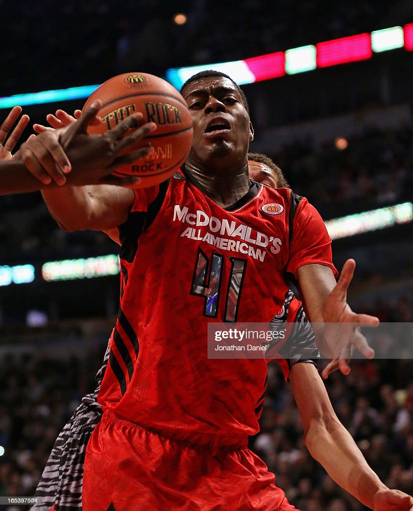 Dakari Johnson #41 of the East tries to control a rebound against the West during the 2013 McDonald's All American game at United Center on April 3, 2013 in Chicago, Illinois.