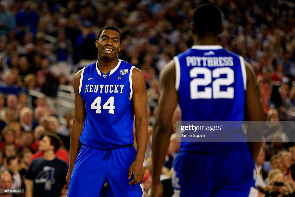 <a gi-track='captionPersonalityLinkClicked' href=/galleries/search?phrase=Dakari+Johnson&family=editorial&specificpeople=10784938 ng-click='$event.stopPropagation()'>Dakari Johnson</a> #44 of the Kentucky Wildcats reacts during the NCAA Men's Final Four Semifinal against the Wisconsin Badgers at AT&T Stadium on April 5, 2014 in Arlington, Texas.