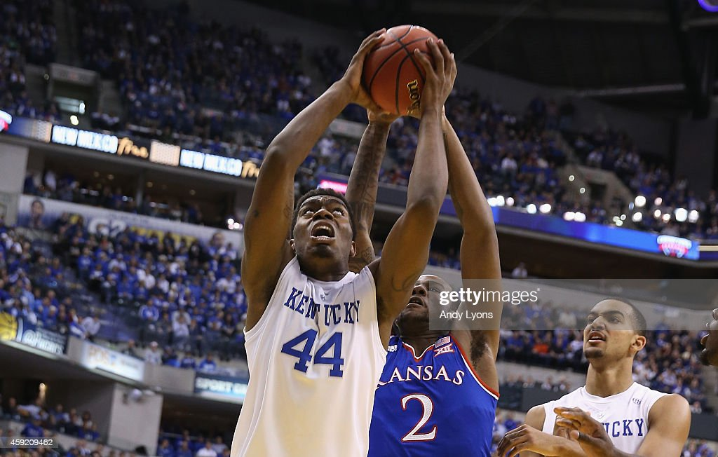 Dakari Johnson of the Kentucky Wildcats shoots the ball during the game against the Kansas Jayhwaks in the State Farm Champions Classic at Bankers...