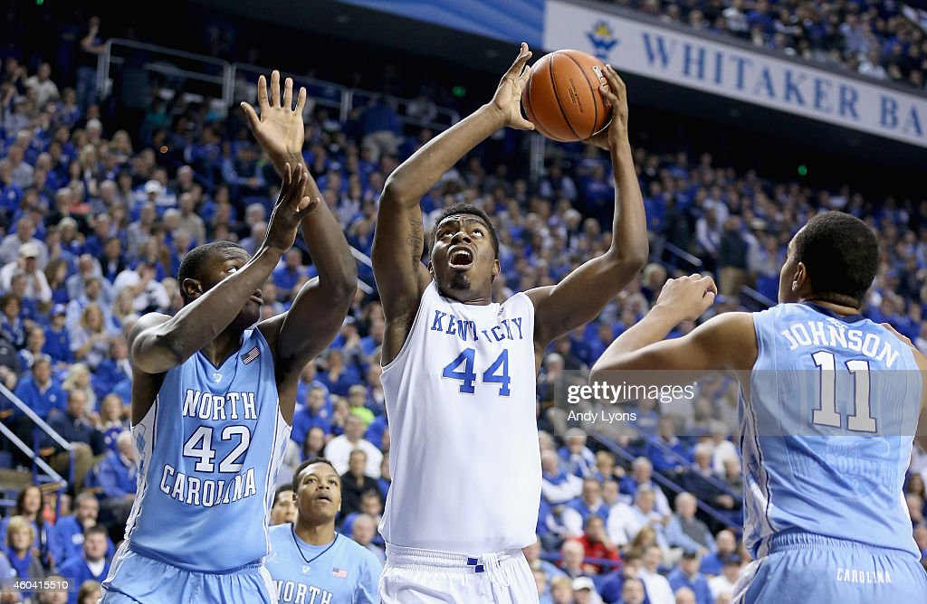 Dakari Johnson of the Kentucky Wildcats shoots the ball during the game against the North Carolina Tar Heels at Rupp Arena on December 13 2014 in...