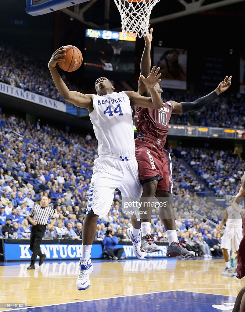 Dakari Johnson of the Kentucky Wildcats shoots the ball during the game against the South Carolina Gamecocks at Rupp Arena on February 14 2015 in...