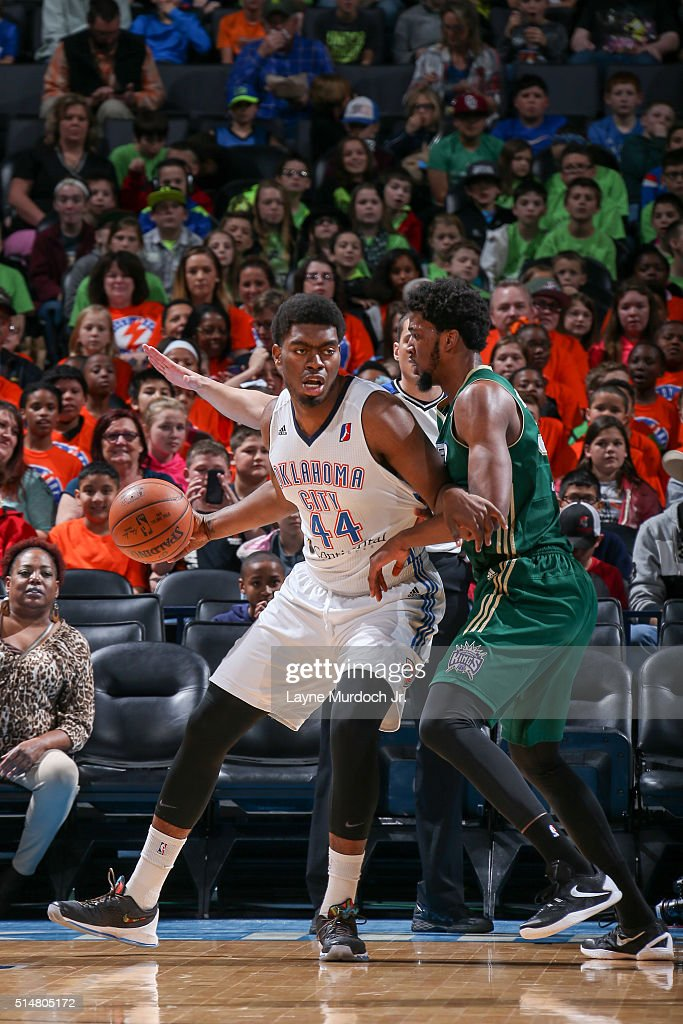 Dakari Johnson of the Oklahoma City Blue drives to the basket against the Reno Bighorns during an NBA DLeague game on March 10 2016 at the Chesapeake...