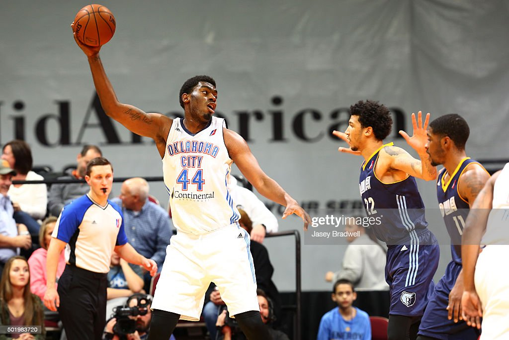 Dakari Johnson of the Oklahoma City Blue looks to pass the ball against the Iowa Energy in an NBA DLeague game on December 18 2015 at the Wells Fargo...