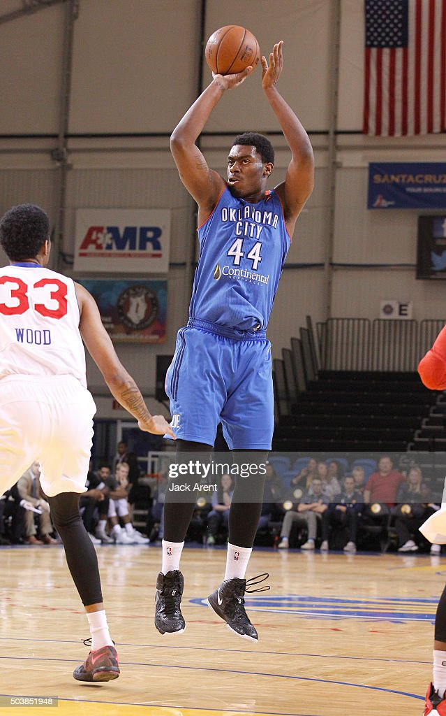 Dakari Johnson of the Oklahoma City Blue shoots the ball against the Delaware 87ers during the 2016 NBA DLeague Showcase presented by SAMSUNG on...
