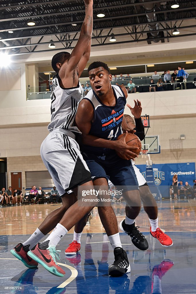 Dakari Johnson of the Oklahoma City Thunder drives to the basket against the Los Angeles Clippers during the Orlando Summer League on July 7 2015 at...
