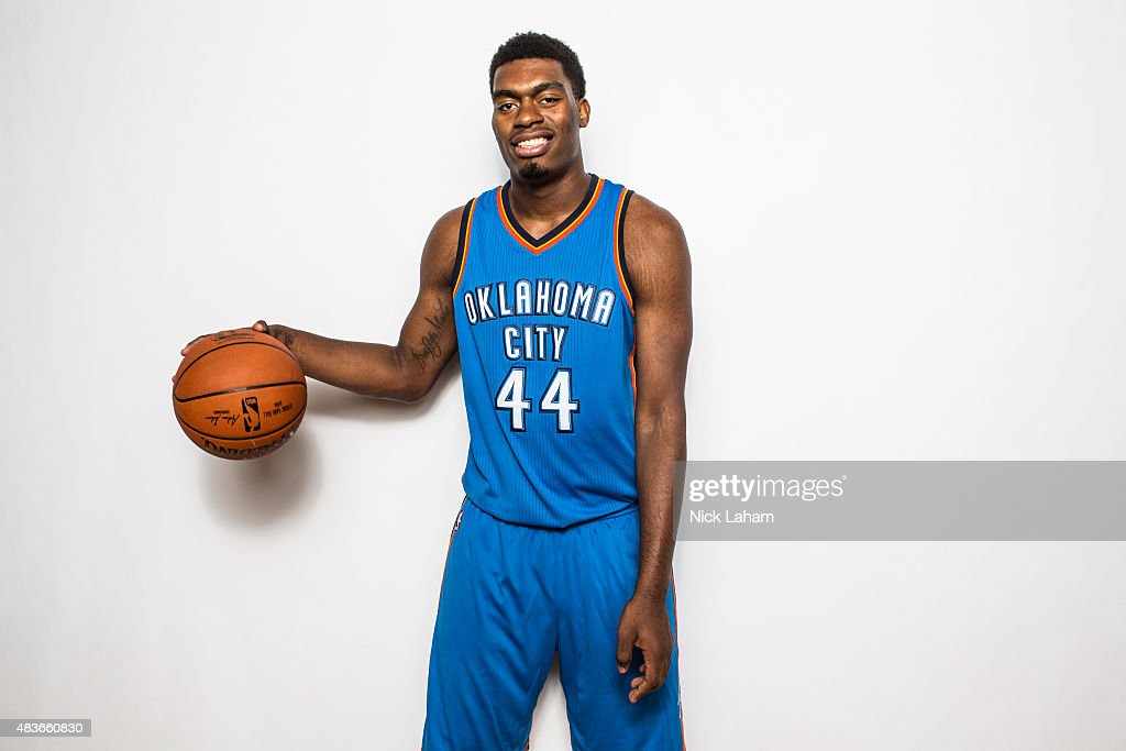 Dakari Johnson of the Oklahoma City Thunder poses for a portrait during the 2015 NBA rookie photo shoot on August 8 2015 at the Madison Square Garden...