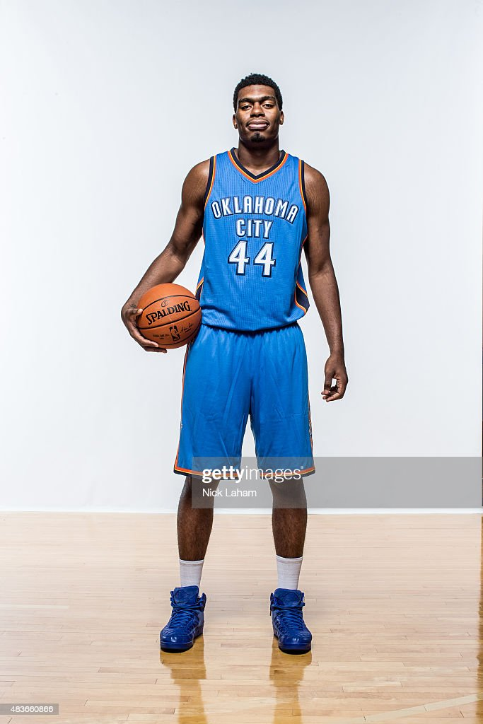 <a gi-track='captionPersonalityLinkClicked' href=/galleries/search?phrase=Dakari+Johnson&family=editorial&specificpeople=10784938 ng-click='$event.stopPropagation()'>Dakari Johnson</a> #44 of the Oklahoma City Thunder poses for a portrait during the 2015 NBA rookie photo shoot on August 8, 2015 at the Madison Square Garden Training Facility in Tarrytown, New York.