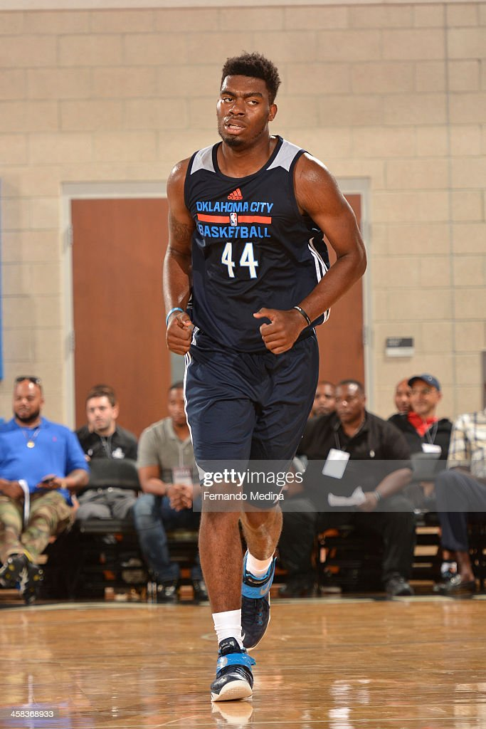 Dakari Johnson of the Oklahoma City Thunder runs up the court after a play against the Dallas Mavericks during the 2016 Southwest Airlines Orlando...