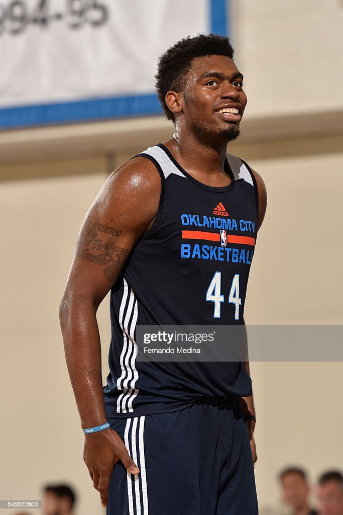 Dakari Johnson of the Oklahoma City Thunder smiles against the Miami Heat during the Orlando Summer League on July 8 2016 at Amway Center in Orlando...