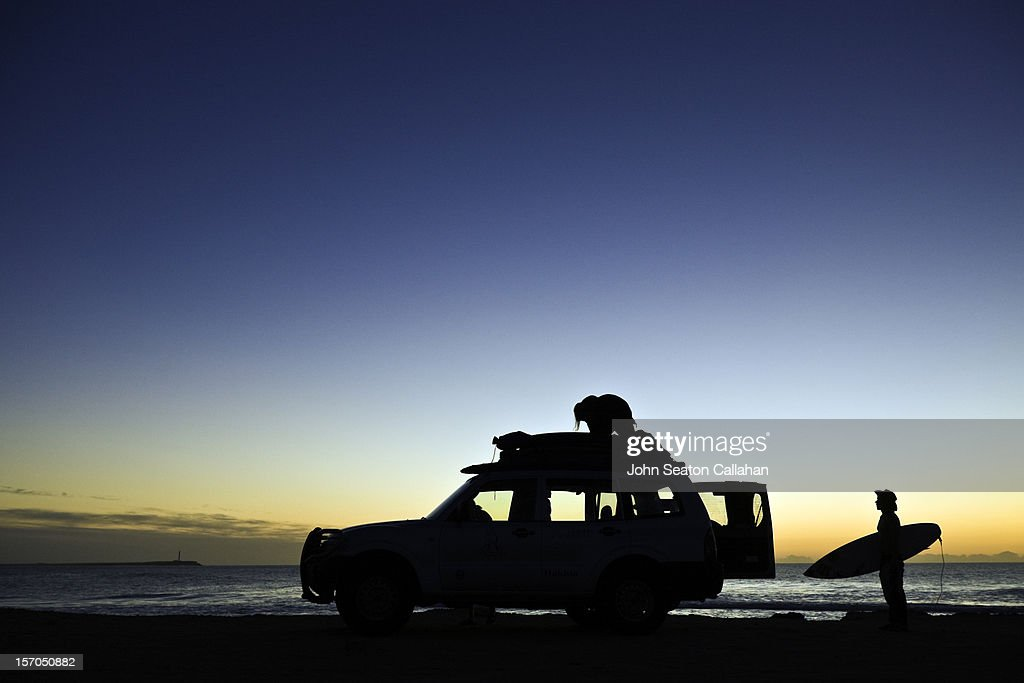 Dakhla, surfers at sunset on the Atlantic Ocean. : Stock Photo