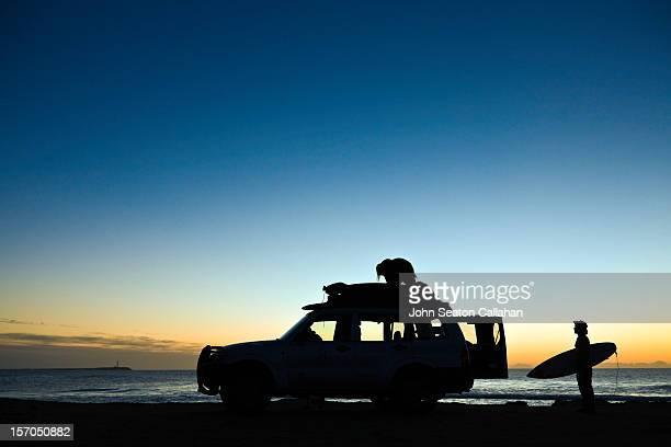 Dakhla, surfers at sunset on the Atlantic Ocean.