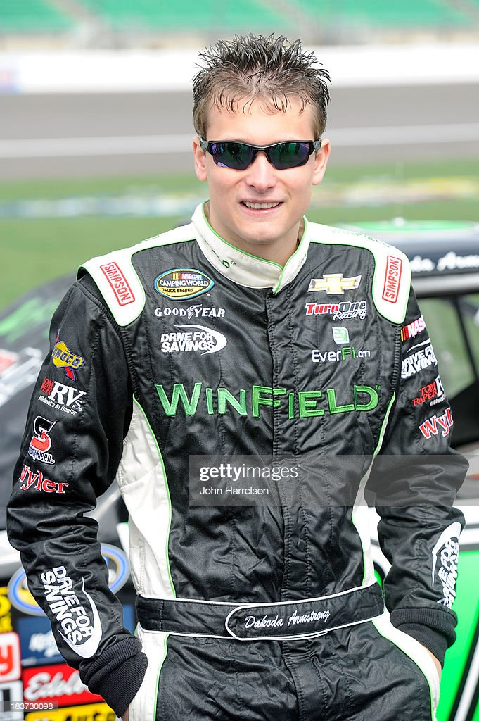 Dakoda Armstrong, driver of the #60 Winfield Chevrolet, during qualifying for the NASCAR Camping World Truck Series SFP 250 at Kansas Speedway on April 20, 2013 in Kansas City, Kansas.