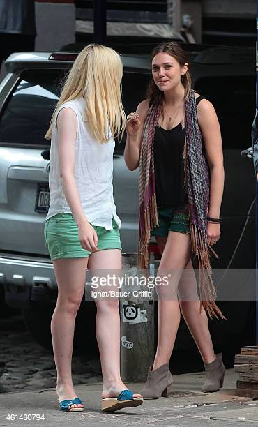 Dakota Fanning and Elizabeth Olsen are seen on the movie set of 'Very Good Girls' on July 30 2012 in New York City