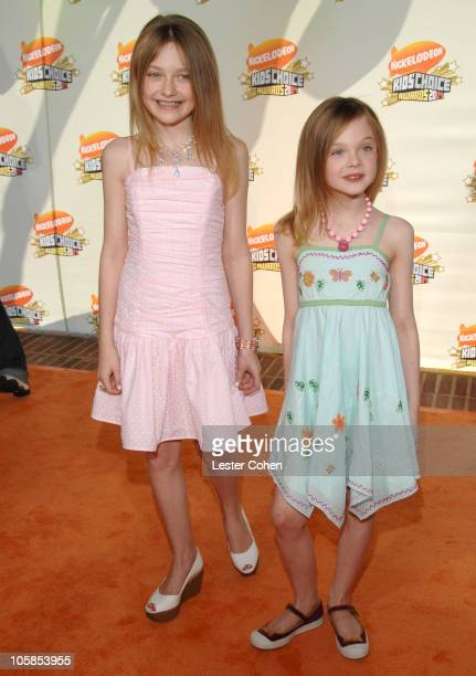 Dakota Fanning and Elle Fanning during Nickelodeon's 20th Annual Kids' Choice Awards Arrivals at Pauley Pavilion in Westwood California United States