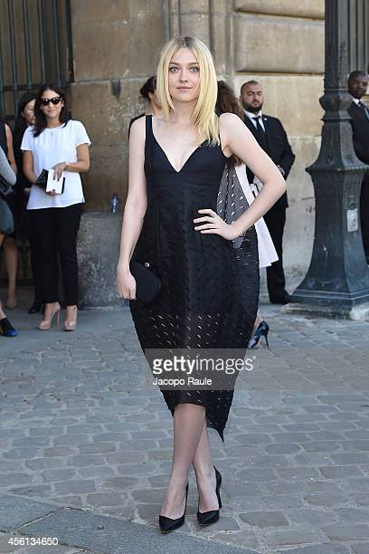 Dakota Fanning arrives at Dior Fashion Show during Paris Fashion Week Womenswear SS 2015 on September 26 2014 in Paris France