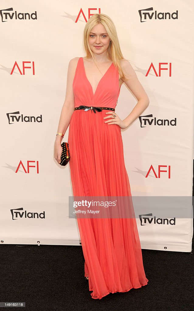 Dakota Fanning arrives at the 40th AFI Life Achievement Award honoring Shirley MacLaine at Sony Pictures Studios on June 7, 2012 in Los Angeles, California.
