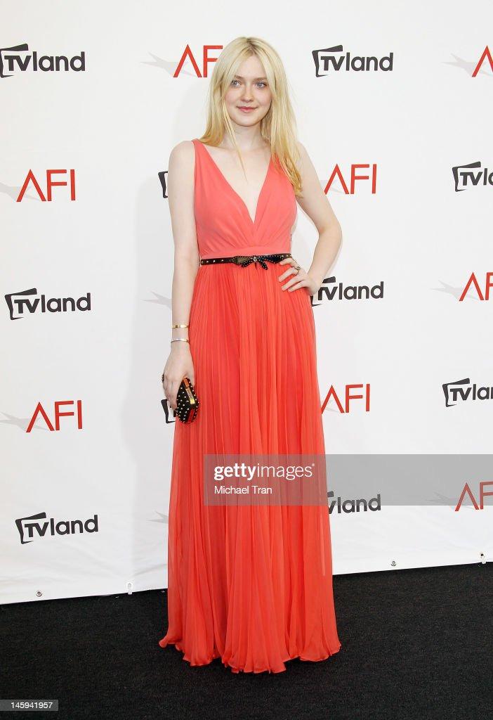 Dakota Fanning arrives at TV Land Presents: AFI Life Achievement Award honoring Shirley MacLaine held at Sony Studios on June 7, 2012 in Los Angeles, California.