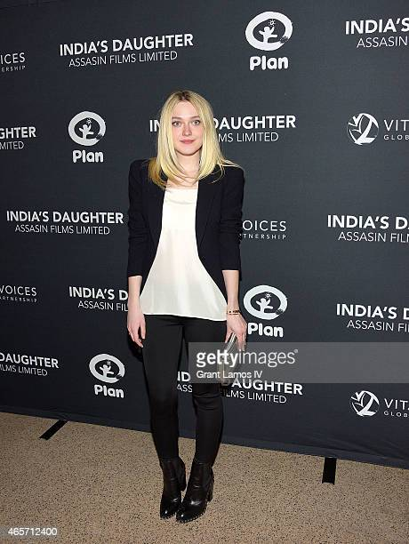 Dakota Fanning attends the 'India's Daughter' New York Screening at Baruch College on March 9 2015 in New York City