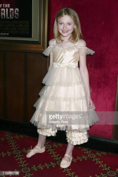 Dakota Fanning during 'War of the Worlds' New York City Premiere Inside Arrivals at Ziegfeld Theater in New York City New York United States