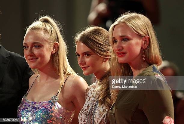 Dakota Fanning Emilia Jones and Vera Vitali attends the premiere of 'Brimstone' during the 73rd Venice Film Festival at on September 3 2016 in Venice...