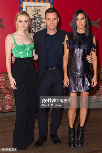 Dakota Fanning Ewan McGregor and Jennifer Connelly attends a photocall for 'American Pastorial' at the Ham Yard Hotel on October 7 2016 in London...