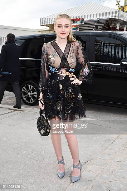 Dakota Fanning is seen arriving at Valentino Fashion show during Paris Fashion Week Womenswear Fall Winter 2016/2017 on March 8 2016 in Paris France