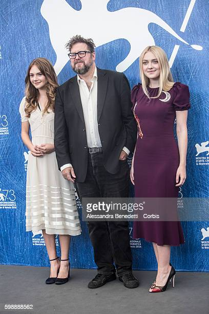 Dakota Fanning Martin Koolhoven and Emilia Jones attend a photocall for 'Brimstone' during the 73rd Venice Film Festival at on September 3 2016 in...