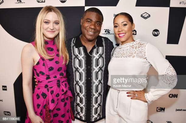 Dakota Fanning Tracy Morgan and Megan Wollover attend the Turner Upfront 2017 green room at Lugo Cucina Italiana on May 17 2017 in New York City...