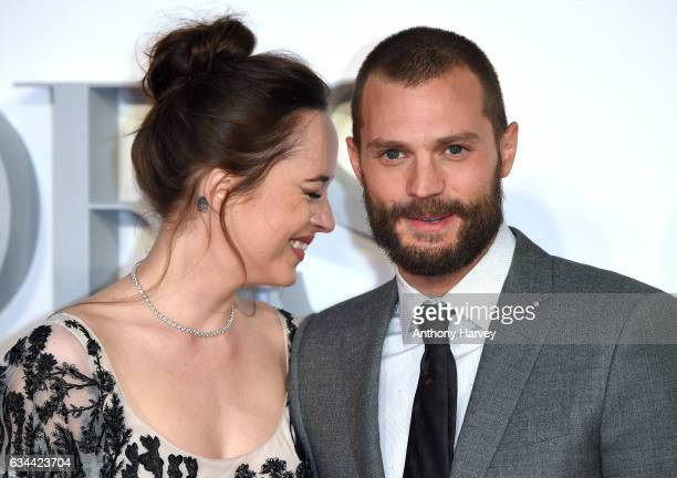 Dakota Johnson and Jamie Dornan attend the 'Fifty Shades Darker' UK Premiere on February 9 2017 in London United Kingdom