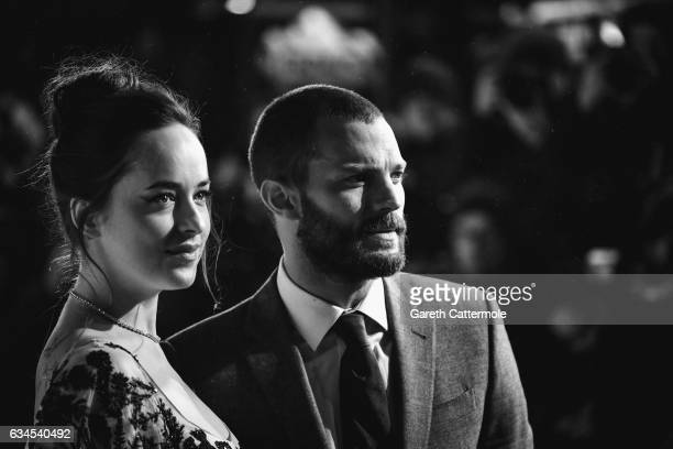 Dakota Johnson and Jamie Dornan attend the UK premiere of 'Fifty Shades Darker' at Odeon Leicester Square on February 9 2017 in London England
