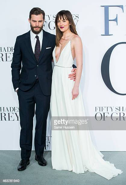 Dakota Johnson and Jamie Dornan attend the UK Premiere of 'Fifty Shades Of Grey' at Odeon Leicester Square on February 12 2015 in London England