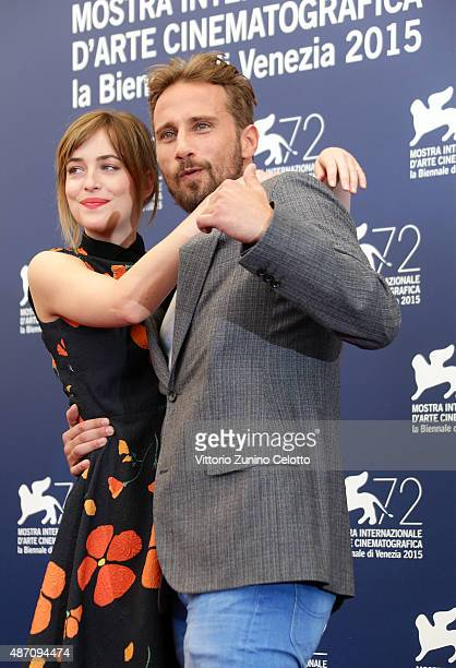 Dakota Johnson and Matthias Schoenaerts attend a photocall for 'A Bigger Splash' during the 72nd Venice Film Festival at Palazzo del Casino on...