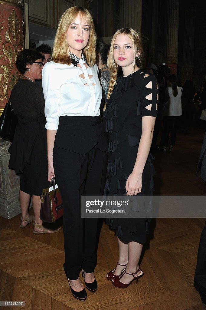 <a gi-track='captionPersonalityLinkClicked' href=/galleries/search?phrase=Dakota+Johnson&family=editorial&specificpeople=2091563 ng-click='$event.stopPropagation()'>Dakota Johnson</a> and Stella Banderas attend the Viktor&Rolf show as part of Paris Fashion Week Haute-Couture Fall/Winter 2013-2014 at La Gaite Lyrique on July 3, 2013 in Paris, France.
