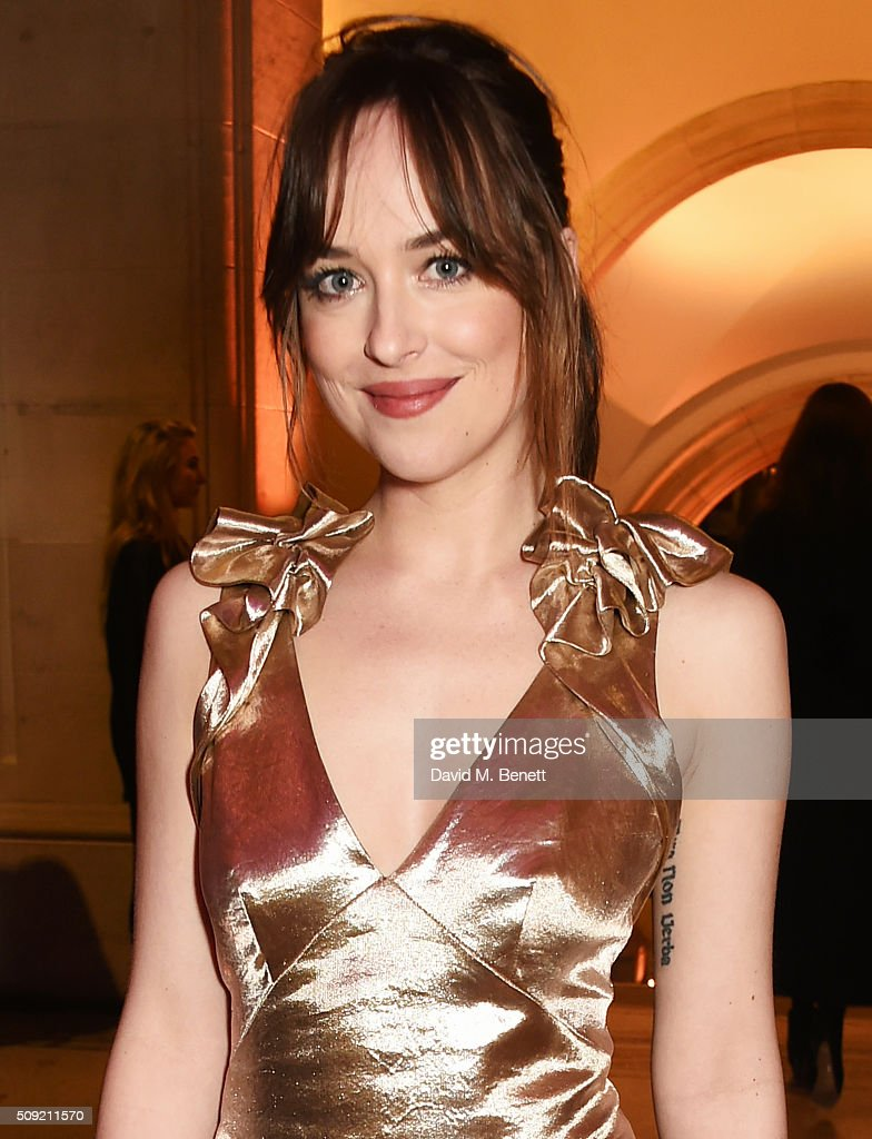 <a gi-track='captionPersonalityLinkClicked' href=/galleries/search?phrase=Dakota+Johnson&family=editorial&specificpeople=2091563 ng-click='$event.stopPropagation()'>Dakota Johnson</a> attends a private view of 'Vogue 100: A Century of Style' hosted by Alexandra Shulman and Leon Max at the National Portrait Gallery on February 9, 2016 in London, England.
