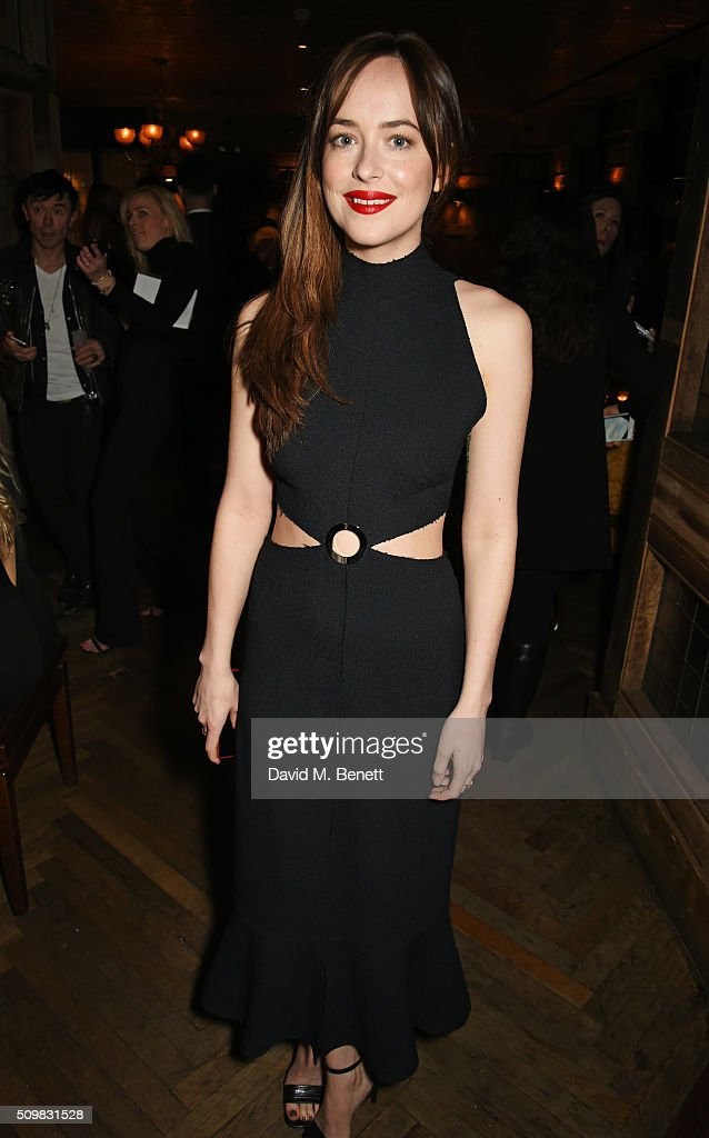 Dakota Johnson attends Harvey Weinstein's pre-BAFTA dinner in partnership with Burberry and GREY GOOSE at Little House Mayfair on February 12, 2016 in London, England.