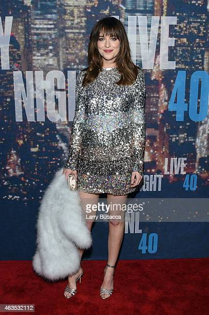 Dakota Johnson attends SNL 40th Anniversary Celebration at Rockefeller Plaza on February 15 2015 in New York City