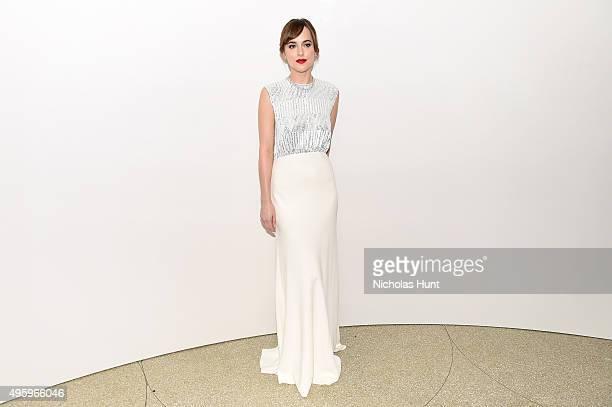 Dakota Johnson attends the 2015 Guggenheim International Gala Dinner made possible by Dior at Solomon R Guggenheim Museum on November 5 2015 in New...