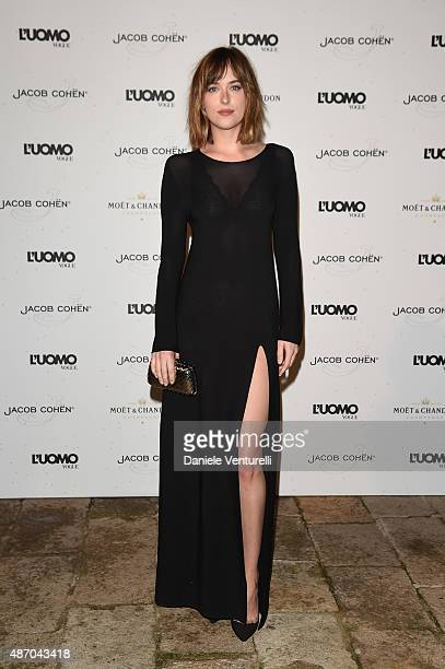Dakota Johnson attends the 'Being The Protagonist' Party hosted By L'Uomo Vogue during the 72nd Venice Film Festival at San Clemente Palace Hotel on...